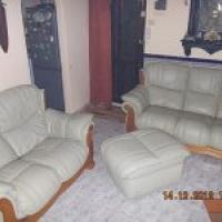FOR SALE .......Leather sofa's and storage Puffae offer Home